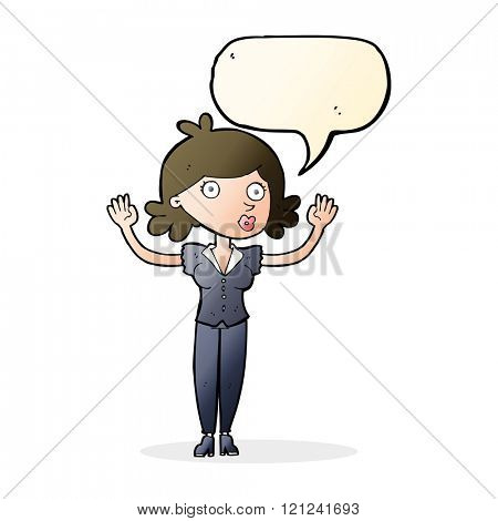 cartoon woman surrendering with speech bubble