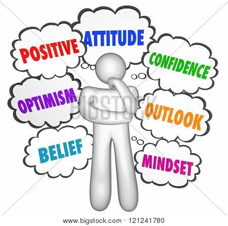 Positive Thinking Thought Clouds Thinker Good Attitude Confidence poster