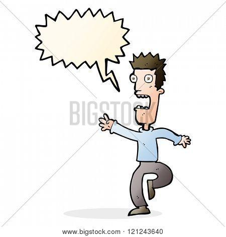 cartoon shrieking man with speech bubble