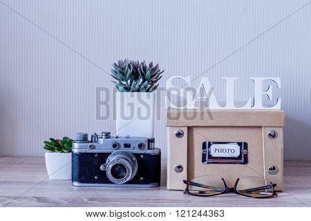 Set Of Retro Household Items, Sale Concept