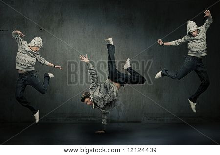 Three hip hop dancers poster