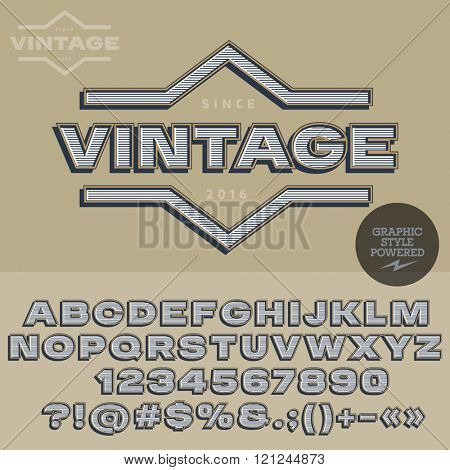 Retro styled logotype for antique store. Vector set of letters, numbers and symbols.
