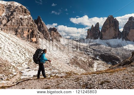 Hiker In Front Of Alps Mountains