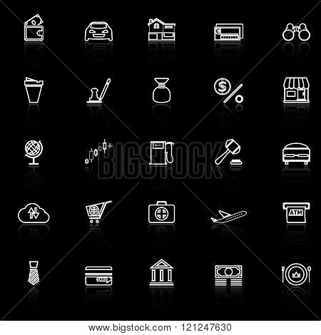 E wallet line icons with reflect on black stock vector