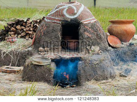 Old Ukrainian Pottery Kiln And Pots.