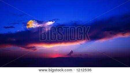 Orange Sunrise Blue Sky Moon V Noise