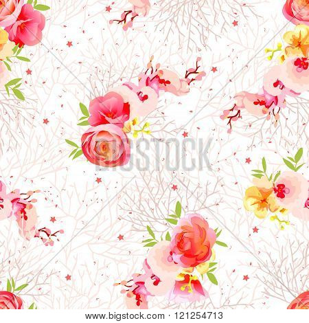 Peachy Flowers, Ranunculus, Orchid, Roses And Exotic Herbs Seamless Vector Print
