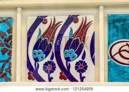 background traditional Turkish patterns tulips on Iznik tiles