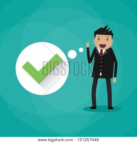 Happy cartoon businessman with green tick