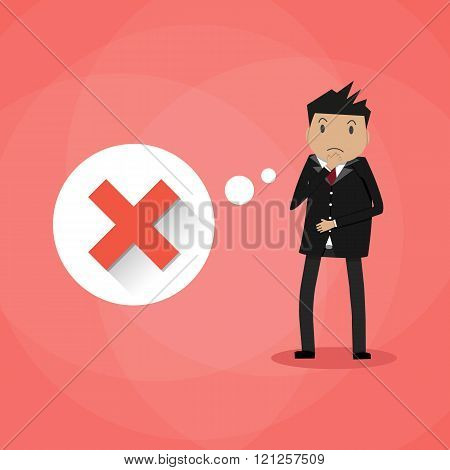 Sad cartoon businessman and red cross