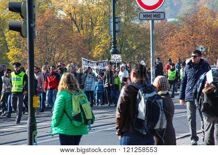 PRAGUE, CZECH REPUBLIC - Oct 24 2015: Demonstration  in Prague, Legion Bridge Czech Republic, on Oct