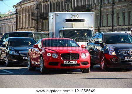 Saint-Petersburg, RUSSIA - Mar 13 2015, Motor car Bentley Continental GT moving through Nevsky Prosp