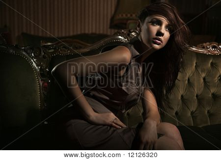Elegant woman in a stylish interior