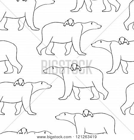 Seamless pattern with polar bear and cub. Vector illustration isolated on white