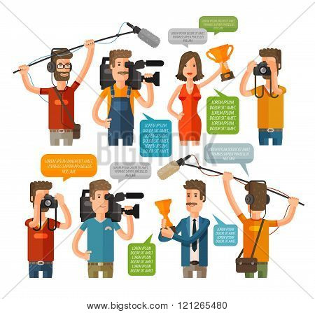 Journalism concept vector illustration in flat style. Hot news template. Mass media