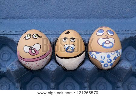 Three Baby Egg Face
