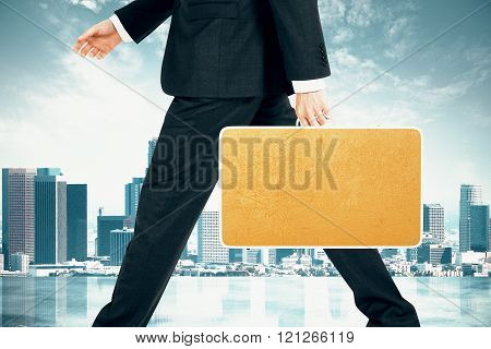 Businessman With Blank Yellow Suitcase At City Background, Mock Up