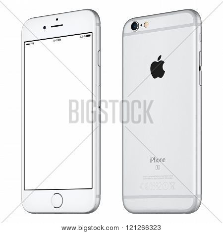 Silver Apple Iphone 6S Mockup Slightly Clockwise Rotated Front View With White Screen And Back Side