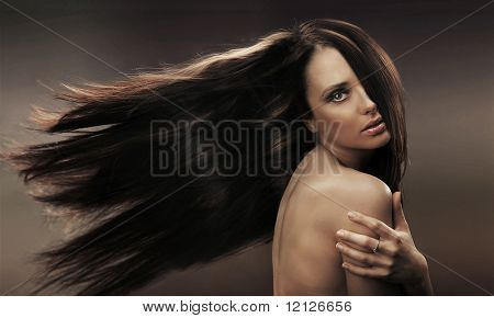 Portrait of a long haired brunette