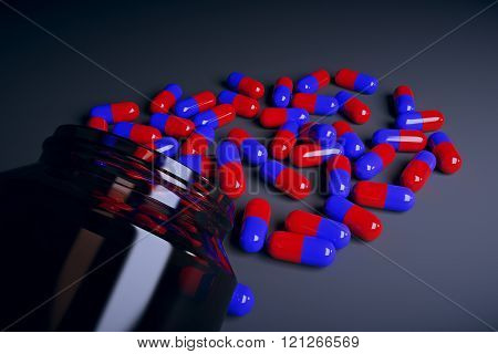 Brown Glass Bottle With Red And Blue Pills, , 3D Render