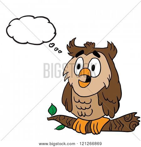 owl with thought bubble cartoon