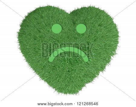 Heart With Grass And Sad Smile