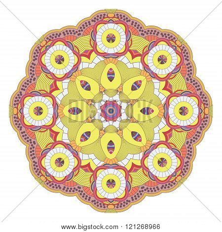 Mandala. Ethnic decorative elements. Vintage Round Ornament Pattern. Islamic Arabic Indian Ottoman Motifs Kaleidoscope Medallion Yoga Meditation. Perfect decorative element for greeting cards or any other kind of design birthday and other holiday. In Brig