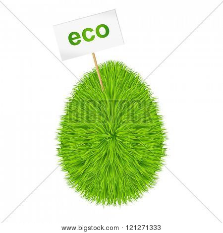 Grass egg symbol with a sign ECO 10eps