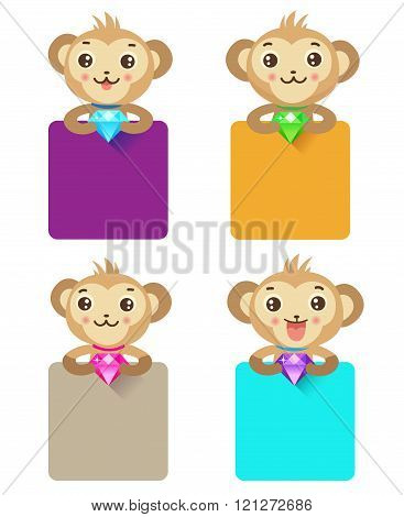 Cute Monkey Holding Jewelry And Various Sign. Set Of Monkey Characters. Cute Icons For Design.
