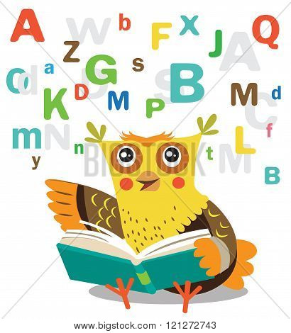 Funny Owl Learn To Read Book On A White Background. Cartoon Vector Illustrations. Owl Picture.