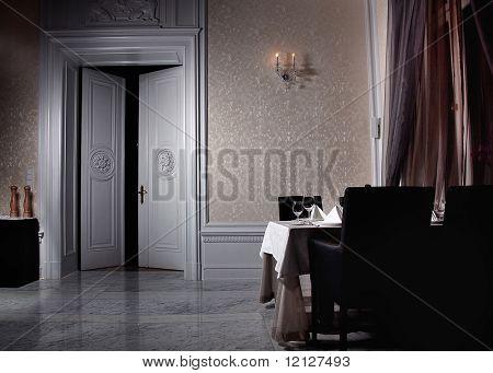 Classic white interior with open door