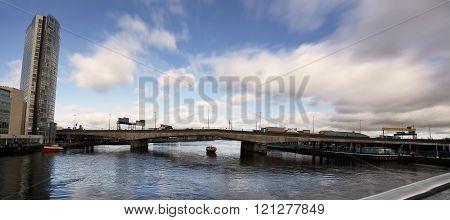 Belfast (united Kindom), february 22, 2016: Bridge of motorway on river Lagan in  Belfast in a sunny day