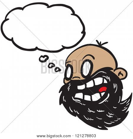 bearded bald man with thought bubble cartoon