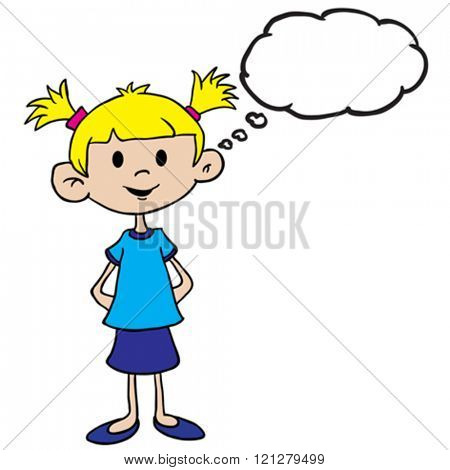 little girl in blue dress with thought bubble cartoon