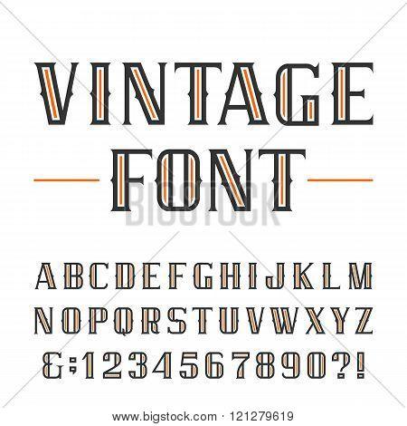 Vintage alphabet vector font