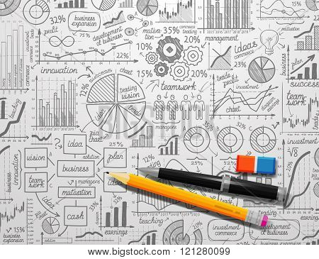 infographics collection hand drawn doodle sketch business ecomomic finance elements