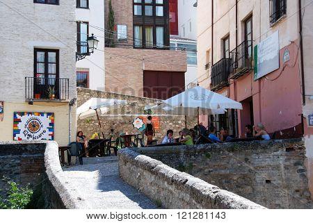 Pavement cafe in Albaicin, Granada.