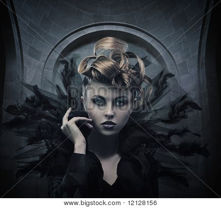 Vogue style photo of a gothic woman poster