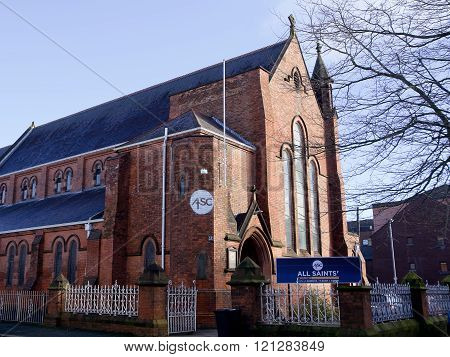Belfast, United Kindom - February 22, 2016: The All Saints Church in Belfast (UK) in a sunny day