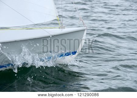 yacht in the sea close up