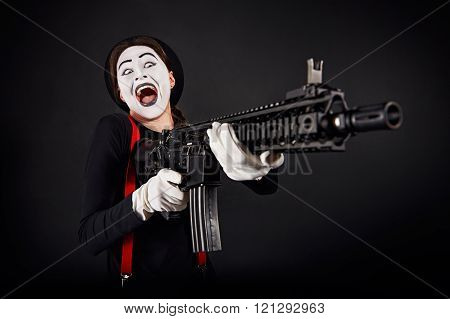 Crazy Smiling Mime With Gun