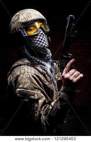 Soldier With Gun In Hand