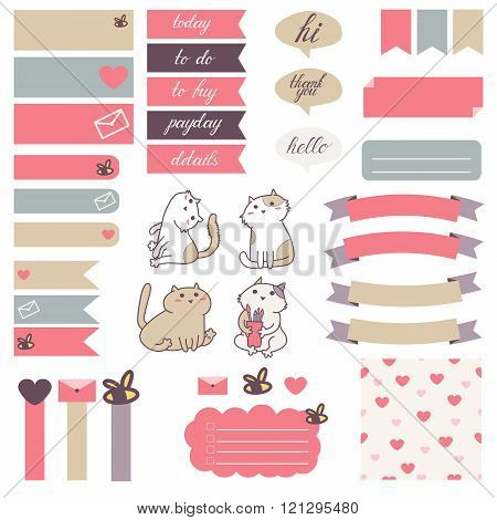 Cute cats and heart pattern in pastel pink beige and gray.