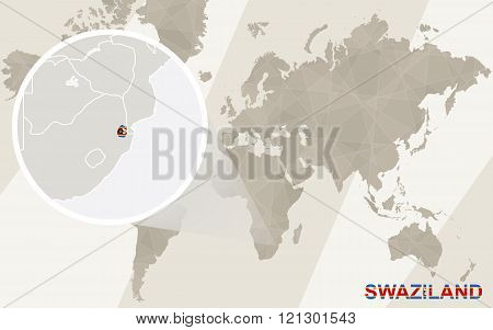 Zoom On Swaziland Map And Flag. World Map.