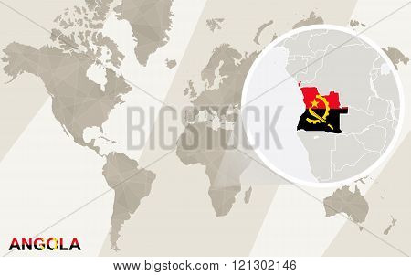 Zoom On Angola Map And Flag. World Map.