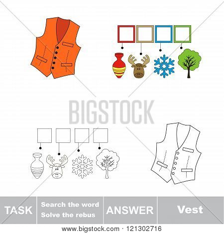 Vector rebus game for children. Find solution and write the hidden word Vest
