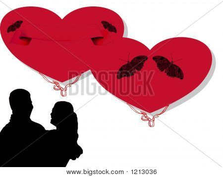 silhouette of a coule and red valentine hearts poster