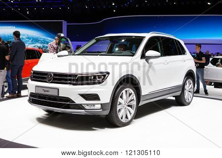 GENEVA, SWITZERLAND - MARCH 1: Geneva Motor Show on March 1, 2016 in Geneva, Volkswagen Tiguan, front-side view