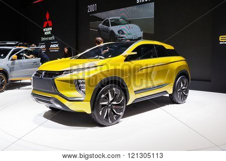 GENEVA, SWITZERLAND - MARCH 1: Geneva Motor Show on March 1, 2016 in Geneva, Mitsubishi eX SUV concept, front-side view