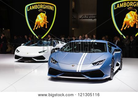 GENEVA, SWITZERLAND - MARCH 1: Geneva Motor Show on March 1, 2016 in Geneva, Lamborghini Huracan LP 610-4 Avio, front view